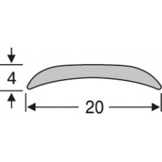 Алюминиевый напольный порог, полукруглый, гладкий ао20г09 20 мм на 0,9 м,  одноуровневый, шт.