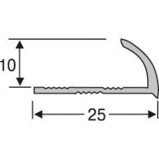 нап10-27 алюминиевый профиль для плитки 10* 25 мм на 2,7 м,внешний, угловой