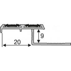 зпв-27 алюминиевый, профиль для плитки  2,7 м, лестничный Z-профиль с противоскользящей вставкой