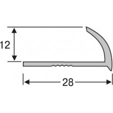нап12-27  алюминиевый профиль для плитки 12* 28 мм на 2,7 м, внешний, угловой